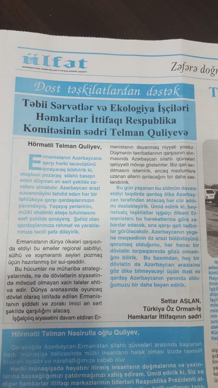 ÖZ ORMAN İŞ AZERBAYCAN GAZETELERİNDE
